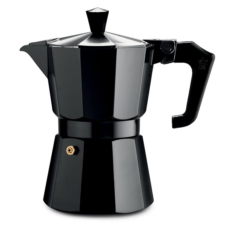 Pezzetti Italexpress Aluminium Moka Pot 3 Cup Black Enamel